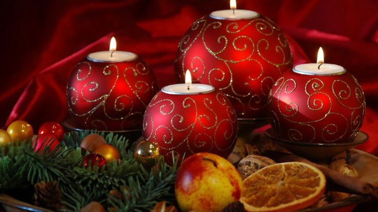 Christmas New Year Candle Fruit Apple Holidays