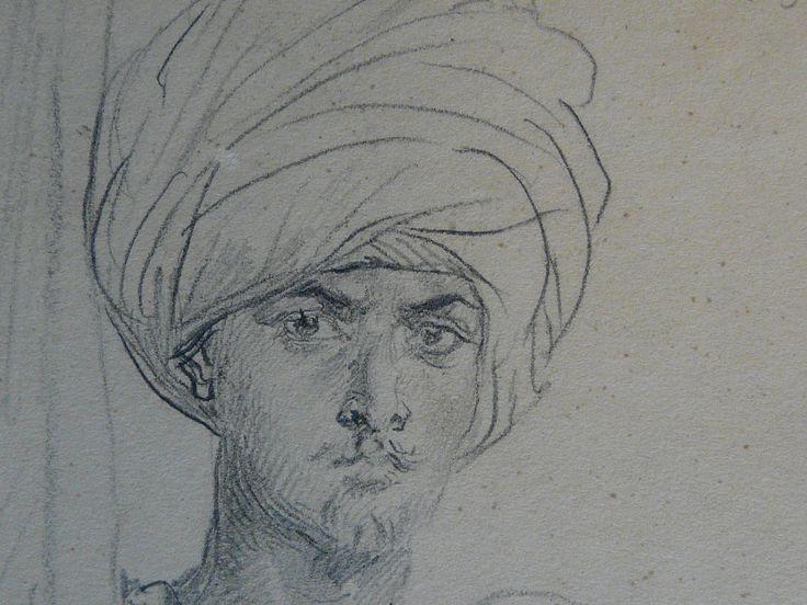 CHASSERIAU Théodore,1846 - Arabe coiffé d'un Turban, debout contre un Arbre - drawing - Détail 10