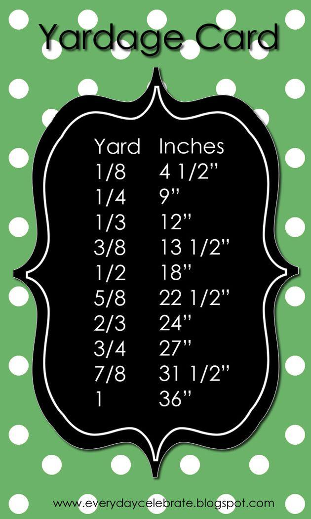 Yardage Card: Idea, Yardag Cards, Sewing Projects, Crafts Rooms, Sewing Tips, Yardag Charts, Cheat Sheet, Fabrics, Sewing Rooms