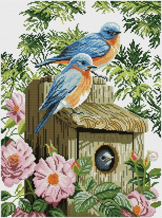 """Garden blue birds ...  Pattern can be found on my board """"Critters In Counted Cross Stitch"""" or at gallery.ru"""