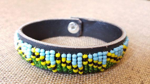 Beaded Leather Bracelet Handcrafted Bracelet green by KaribuAfrica