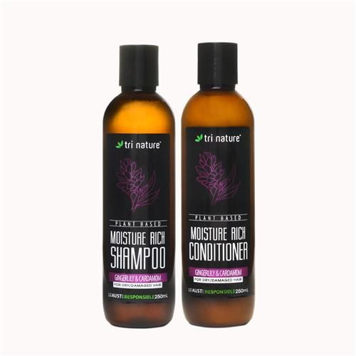 Moisture Rich Hair Care Duo for Dry and Damaged Hair. An extremely gentle Shampoo and Conditioner Duo formulated specifically for dry and damagedhair types. The Moisture Rich Duo has the gentle smell of Ginger Lily and Cardamom. #plantbased #natural #noSLS #nosoap #nopthalates #naturallygoode