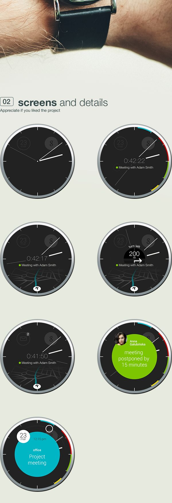 calendar / clock - android wear concept app by Michal Galubinski, via Behance