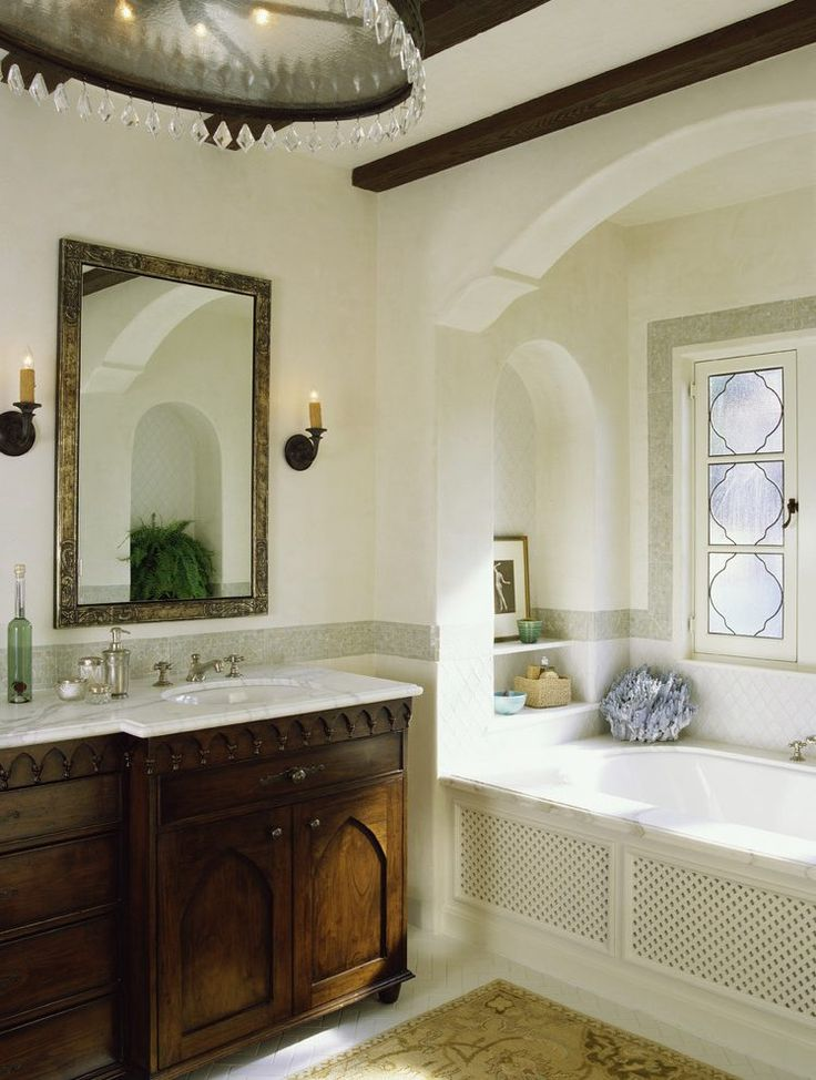 window alcove ideas bathroom mediterranean with leaded windows freestanding toilet paper holders