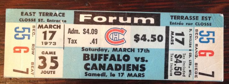 Montreal Canadiens / Forum hockey ticket stub