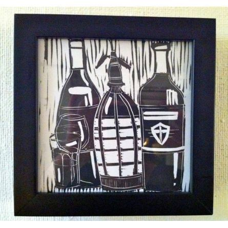 Wine in Argentina lino cut print by Sophia Saunders $40