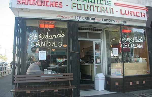 Eat a hot fudge sundae at the St. Francis Fountain, open since 1918 on lower 24th Street in the Mission District (San Francisco)Francis Fountain, Hearty Breakfast, Candies Stores, Sodas Fountain, Francisc Fountain, Fountain Diners, San Francisco, Ice Cream Parlor, Francisco Restaurants