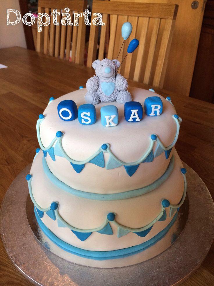 Doptårta christening cake mirandanalle blue white garland teddybear