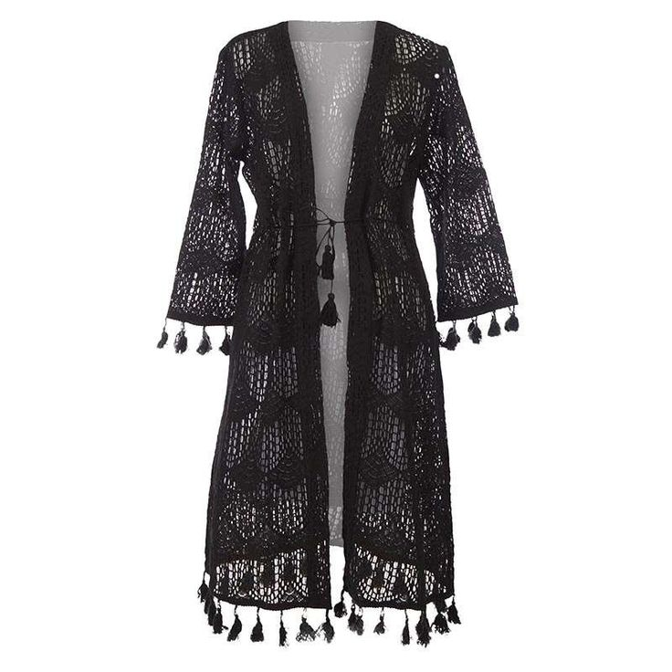 LONG KURTA W/BLACK LACE MEDIUM (100% COTTON) - Skirts-Dresses - Clothes