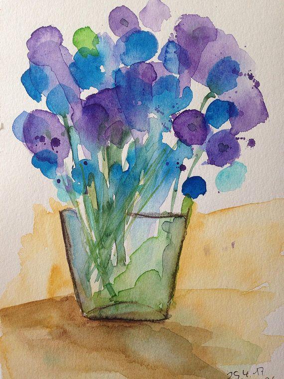 Aquarell Blumen Blumen in der Vase 17 x 24 cm
