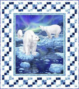 Fabric Kit Northern Lights Polar Bear 100 Cotton Fabric