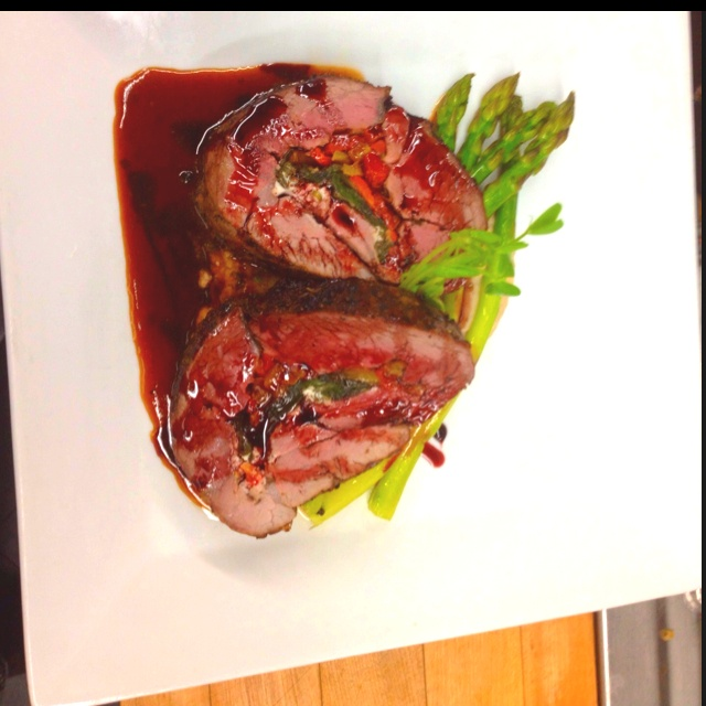 Roasted, rested, red wine lamb jus w/ port wine reduction