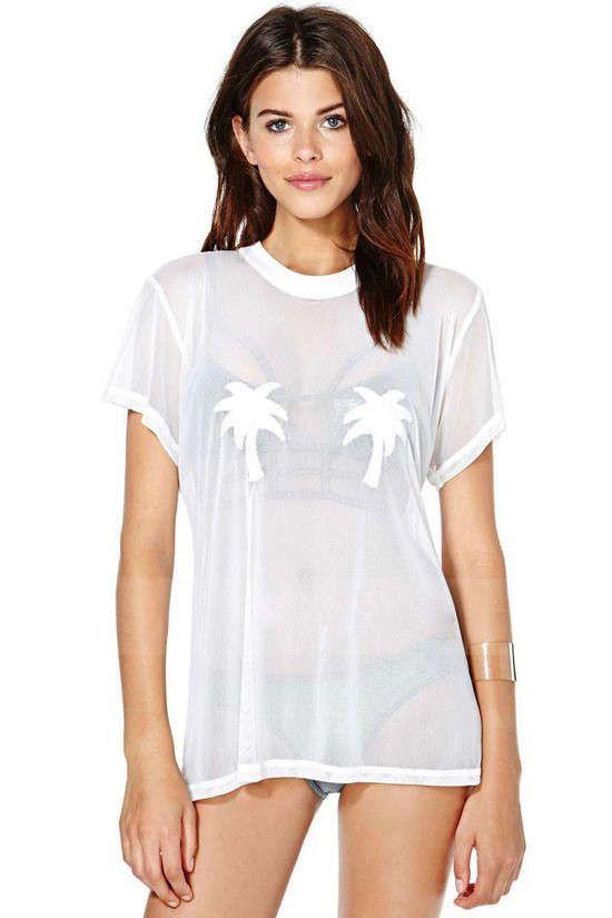 camiseta branca transparente