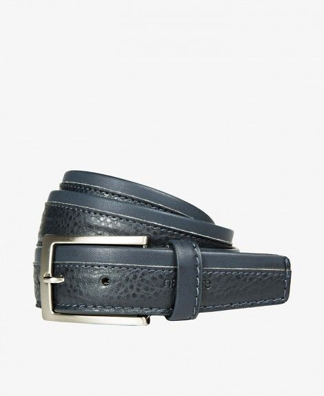 Leather and synthetic material belt, suede, double stitching in contrasting colours. Made in Italy. Equipped with square metal buckle, double loops and Navigare logo | Navigare