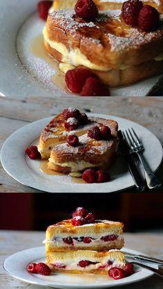 Pour un petit déjeuner équilibré → Un petit déjeuner romantique pour le week-end, pain perdu aux framboises et ricotta - hummm !