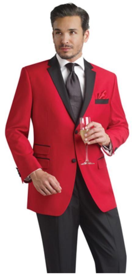 Rojo Dos Botón Muesca Fiesta De fumar Chaqueta Chaqueta de sport Smoking Traje con Gratis Negro Pantalones en 149 dólares
