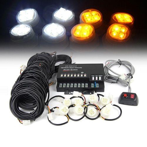 Xprite Amber & White 160W 8 LED Bulbs Hide-A-Way Strobe Lights