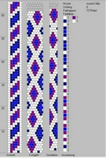 beaded loom braclet pattern