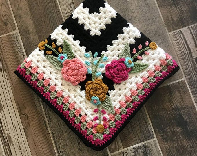 Featured listing image: Handmade Baby Blanket - Floral Baby Blanket - Crocheted Baby Blanket - Baby Flowers