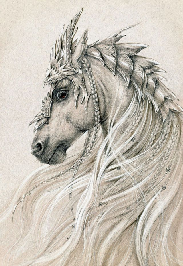Elven horse 2 by Anwaraidd on deviantART   *   Fantasy Myth Mythical Mystical Legend Elf Elves Sword Sorcery Magic Witch Wizard Coloring pages colouring adult detailed advanced printable Kleuren voor volwassenen coloriage pour adulte anti-stress kleurplaat voor volwassenen Line Art Black and White