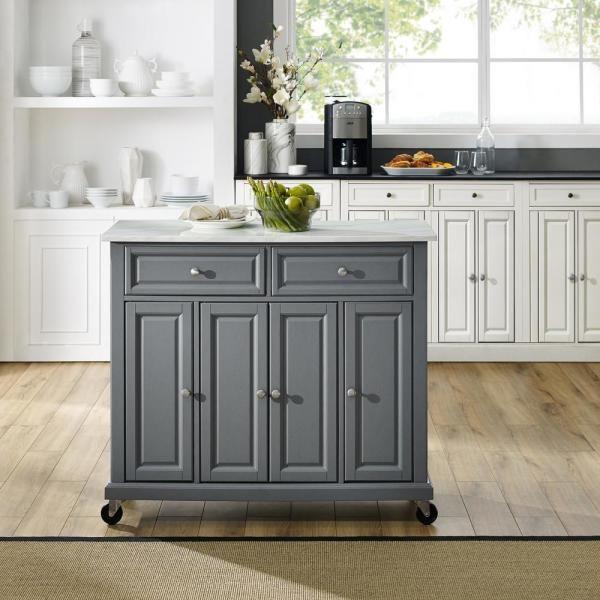 Crosley Avery Gray Kitchen Cart Kf30043egy The Home Depot Grey Kitchen Island Small Kitchen Kitchen Design