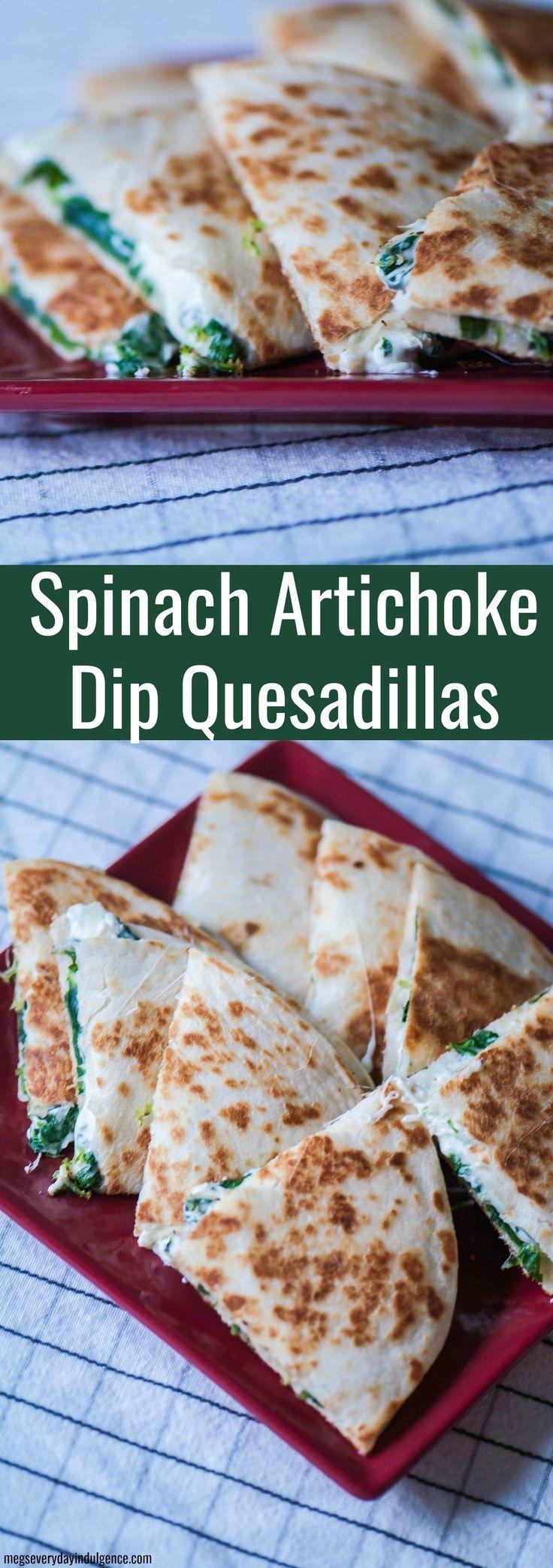 Spinach Artichoke Dip Quesadillas-healthy vegan recipes.