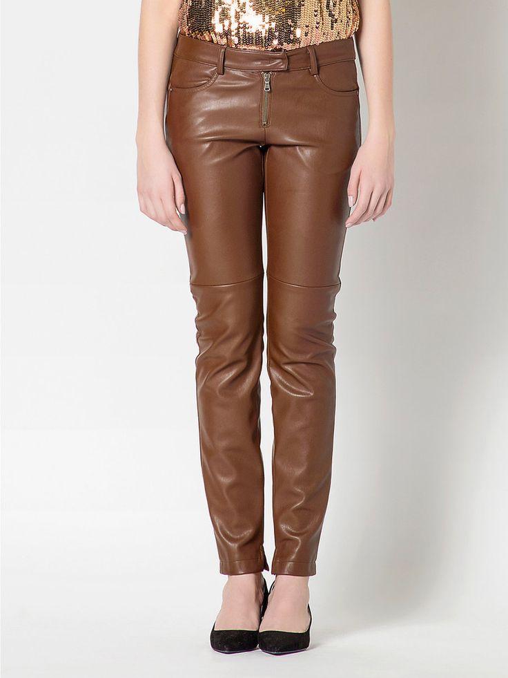 Pantalone donna in eco pelle marrone, linea FW2015 Patrizia pepe, taglie 38, 40, 42, in ecopelle lavata, 5 tasche, sfoderato