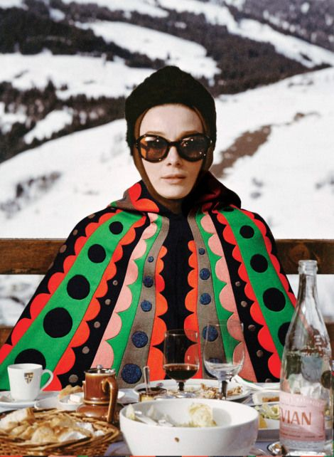 Audrey Hepburn in Valentino, Charade. (We've definitely seen this print come back in recent years!)