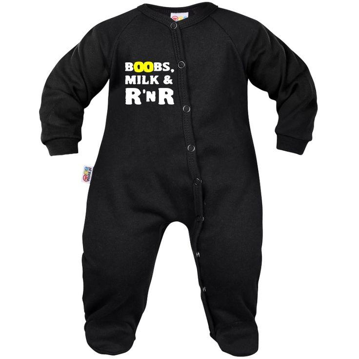 Pyjama bébé rock : BOOBS, MILK & ROCK n ROLL