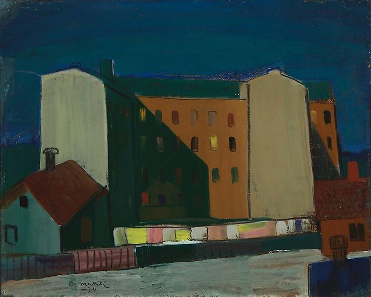 "terminusantequem: "" Otto Mäkilä (Finnish, 1904-1955), City, 1934. Oil on board, 34.00 x 41.00 cm """