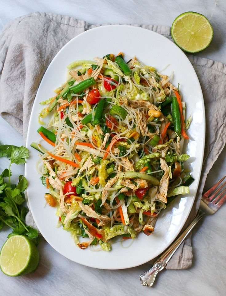 Vietnamese Chicken Salad    Nutrition Information  Serves:8    Calories:360   Fat:12 g Carbohydrates:29 g Sodium:620 mg Fiber:4 g Protein:30 g Cholesterol:85 mg