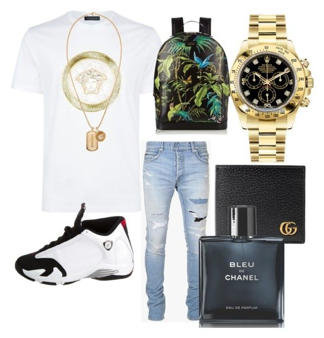 """Untitled #11"" by yesmeny-mejias on Polyvore featuring Balmain, Versace, NIKE, Rolex, Gucci, Chanel, men's fashion and menswear"