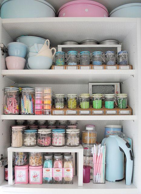 Cake decorating cupboard.