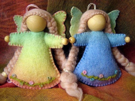 Felt Fairy - Waldorf  inspired hanging fairy, Made In Australia, natural wool felt, needle felted dress.