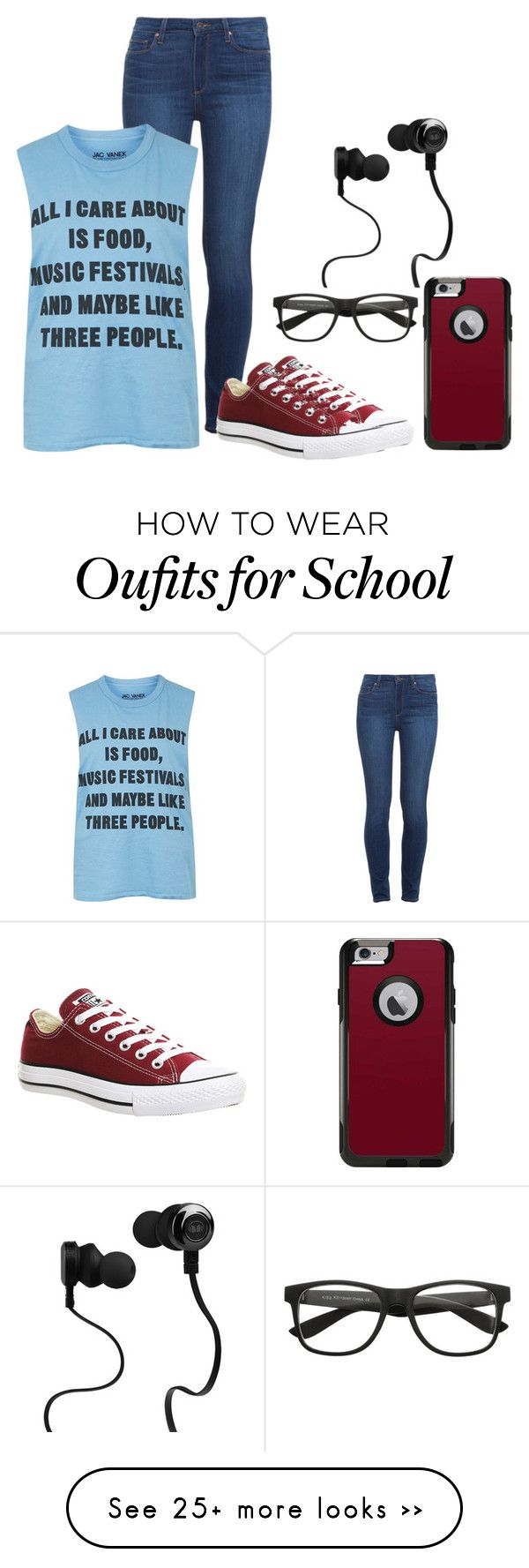 """High School Life"" by do-not-follow-me on Polyvore featuring Paige Denim, Topshop, Converse, OtterBox and Monster"