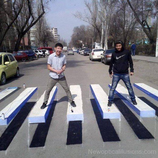 Zebra Crossing Chalk Drawing