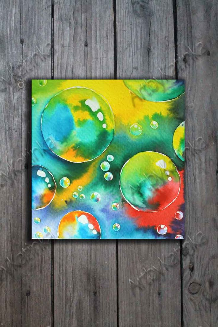 Original Watercolor Painting, Bubbles Art,Handmade paint, Anniversary, Birhday gift, Wall Art, Home Decor, Painting Art, Paintig Gift by ARTbyKatinka on Etsy