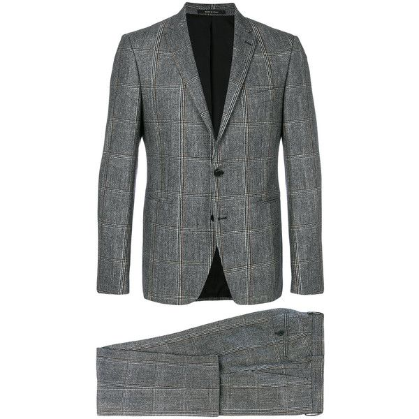 Tagliatore checkered print two piece suit (758,950 KRW) ❤ liked on Polyvore featuring men's fashion, men's clothing, men's suits, multicolour, men's 2 piece suits, colorful mens suits, mens gray suit, mens grey suits and checked mens suits