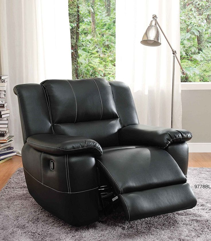 Cantrell Casual Black Bonded Leather Glider Reclining Chair