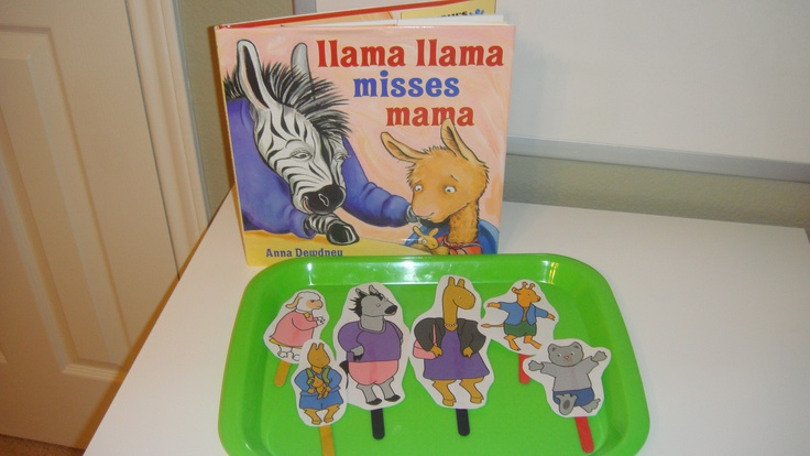 """Toddler School Tray 40: """"Llama Llama Misses Mama"""" Have child hold up corresponding popsicle stick when that character is read in the book"""