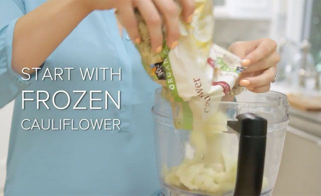 putting frozen cauliflower into a food processor