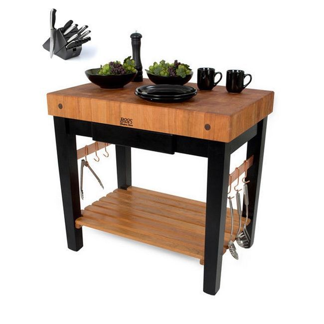 John Boos Cherry Grain Butcher Block Table 30x34x36 & Casters W Drawer Plus Henckels 13 Pc Knife set