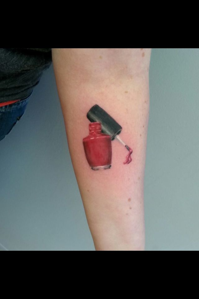 Nail polish bottle tattoo
