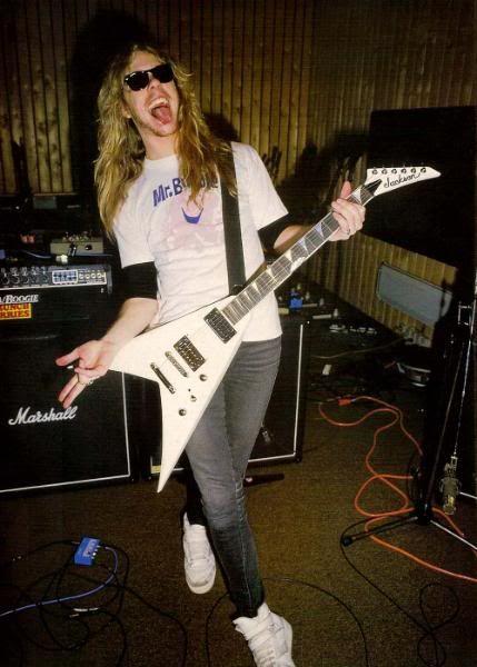 "~Jamez Hetfield (1983) Note: Hetfieldz ""Secret Weapon"" In Background: The Mesa Boogie Mark IIC+ = ""The Master Of Puppets Unheard Of ""Tone""~"