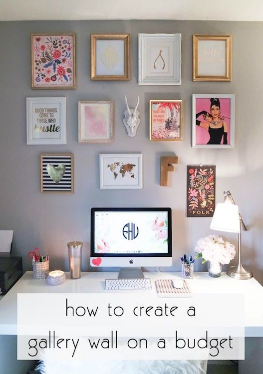 Create your own gallery wall on a budget. | 10 Ways to Redecorate Your Dorm Room for Relatively No Money | http://www.hercampus.com/diy/decorating/10-ways-redecorate-your-dorm-room-relatively-no-money