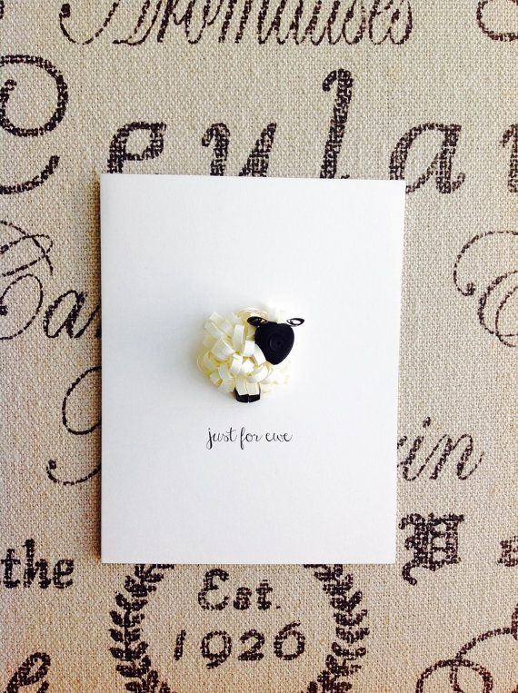 quilled sheep card  just for ewe black and by APaperLifeOriginals