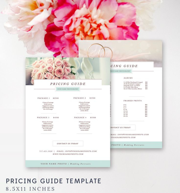 Photography Price Sheet - Wedding Photography Pricing List Template - INSTANT DOWNLOAD by ByStephanieDesign on Etsy