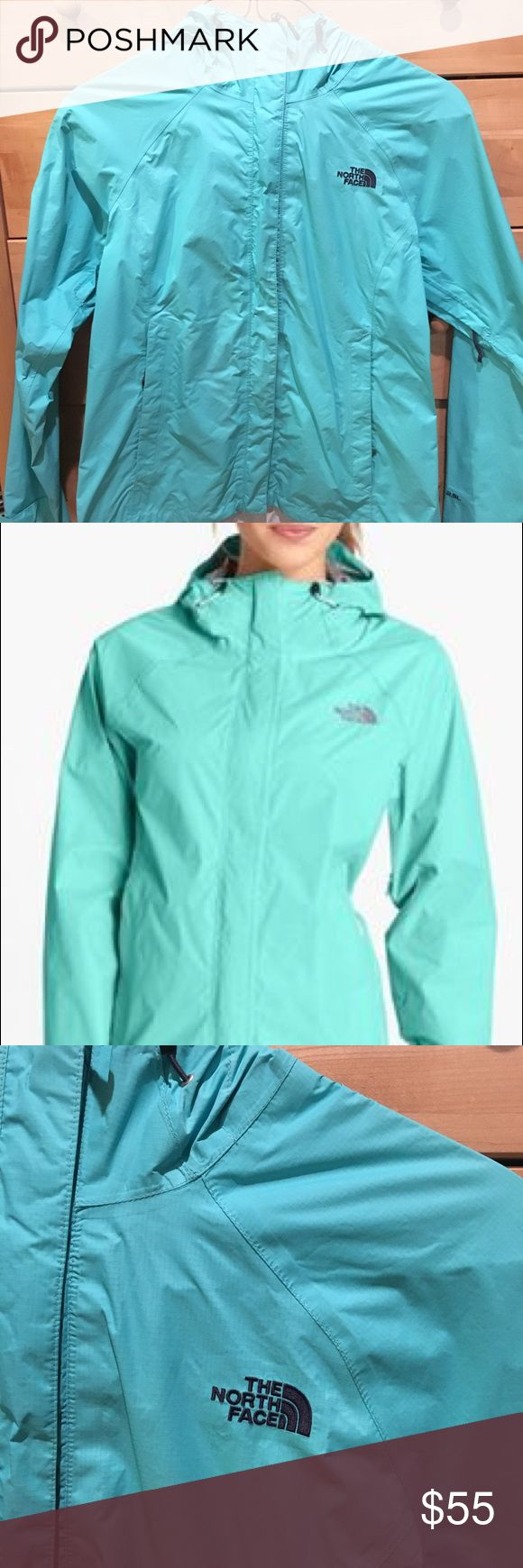 North Face Rain Jacket Turquoise North Face zip-up rain jacket with hood! North Face Jackets & Coats