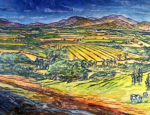 Imaginary landscape wax crayon rubbing from lino blocks for Wax landscape