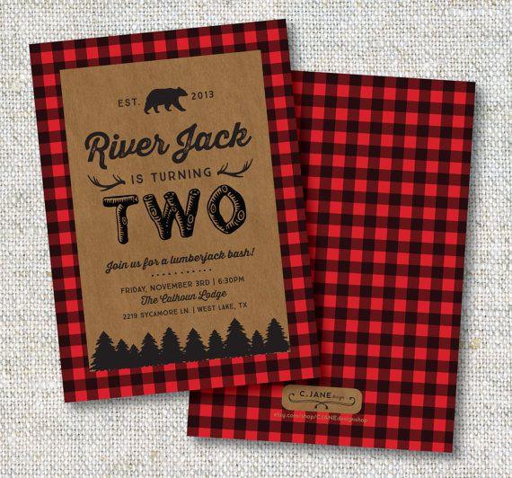 Lumberjack Birthday Invitation: Buffalo Plaid by CJANEdesignshop